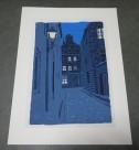 東山魁夷 木版画「夕べの町」